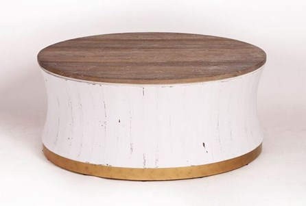 Round White Wash + Brass Painted Coffee Table