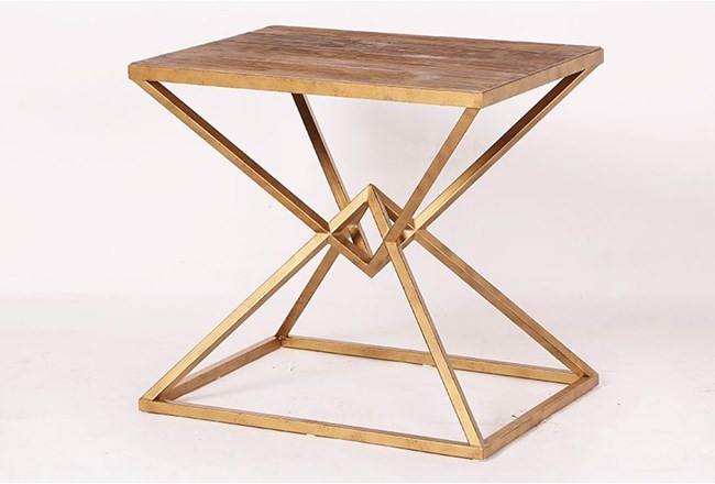 Geo Brass Frame End Table - 360
