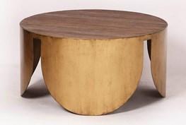 Round Brass Bottom Coffee Table