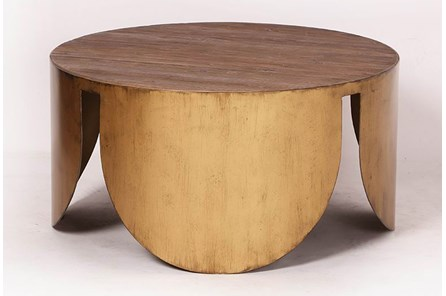 Round Brass Bottom Coffee Table
