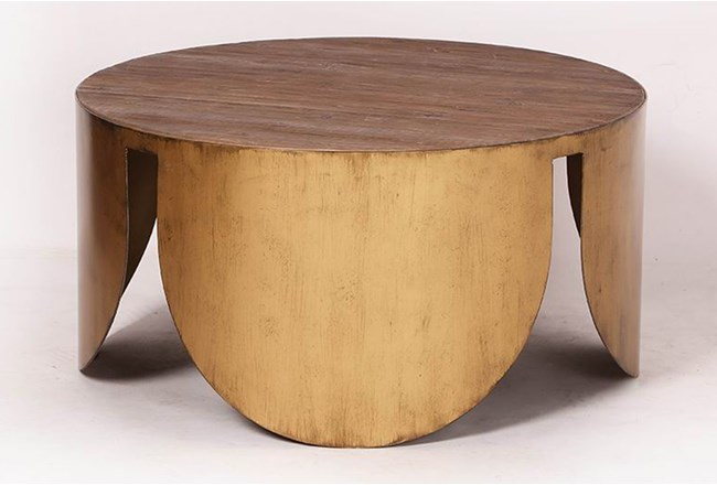 Round Brass Bottom Coffee Table - 360