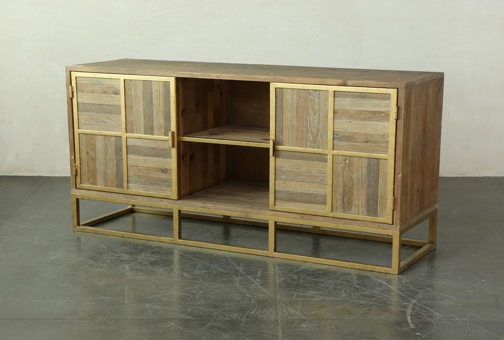 Mixed Media Metal Inlay Cabinet