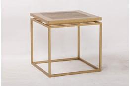 Brass Framed End Table