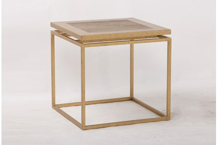 Brass Framed End Table