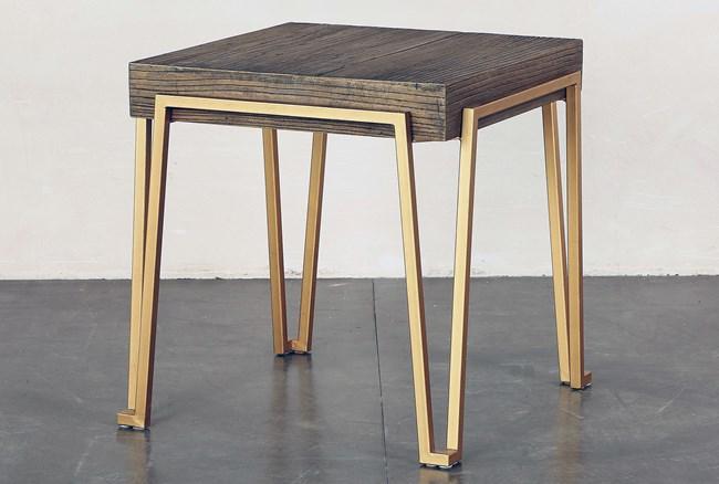 Reclaimed Elm + Iron End Table - 360