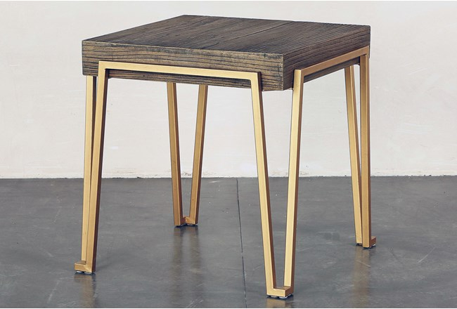 Reclaimed Elm + Iron End Table - 360