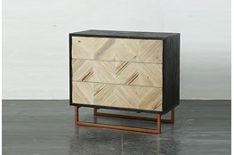 3 Drawer Black And Natural Cabinet