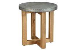 Round Metal Topped End Table