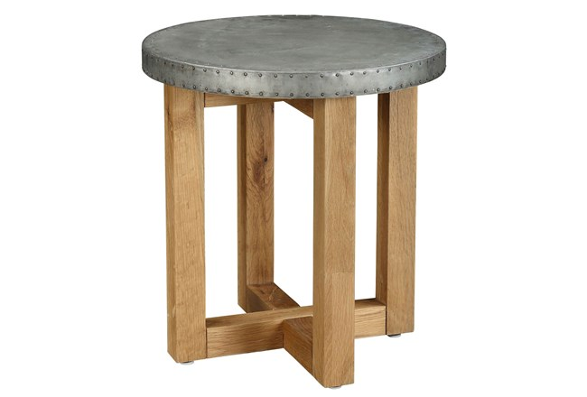 Round Metal Topped End Table - 360