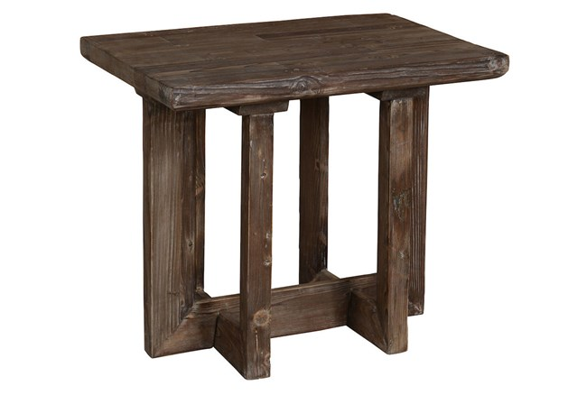 Reclaimed Pine Brown End Table - 360