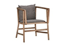 Poplar Wood Grey Club Chair