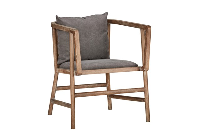 Poplar Wood Grey Club Chair - 360