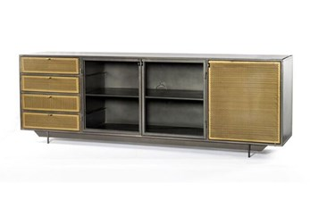 """Gunmetal Perforated Brass 83"""" Media Console"""