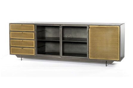 Gunmetal Perforated Brass Media Console - Main