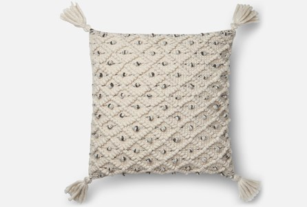 Accent Pillow-Magnolia Home Blue/Ivory Diamond Ikat 22X22 By Joanna Gaines