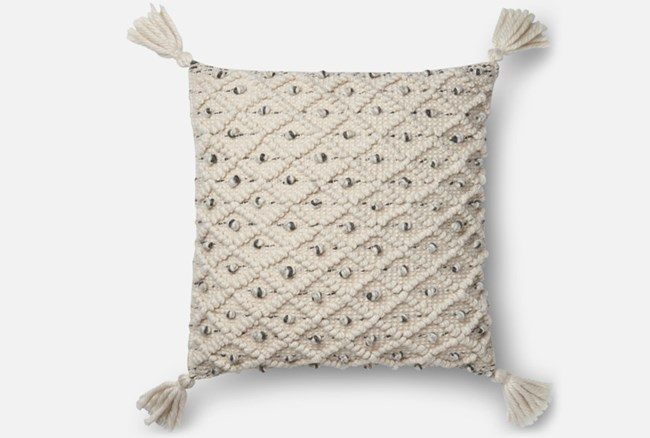 Accent Pillow-Magnolia Home Blue/Ivory Diamond Ikat 22X22 By Joanna Gaines - 360