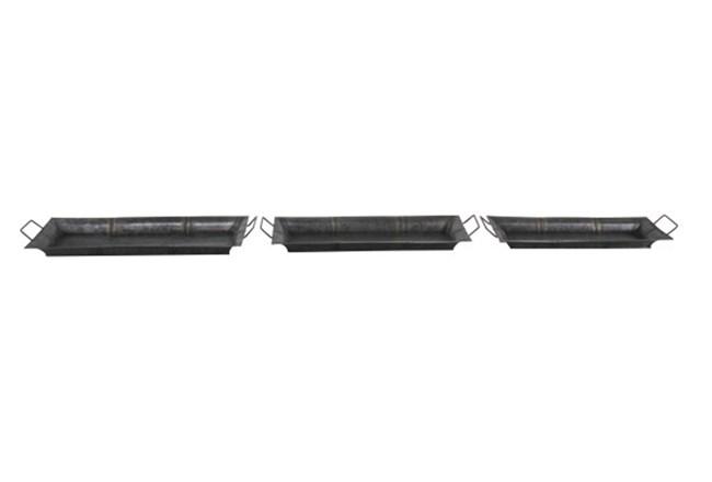 Set Of 3 Burnt Metal Trays - 360