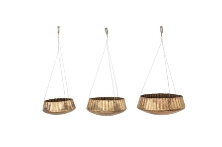 Set Of 3 Gold Hanging Planters - Main