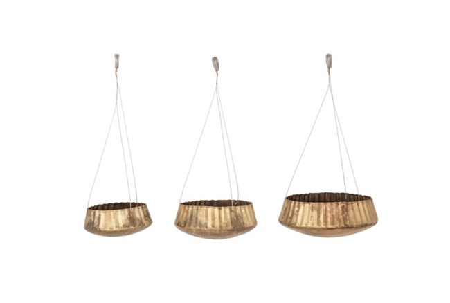 Set Of 3 Gold Hanging Planters - 360