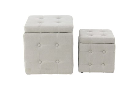 Set Of 2 Upholstered Storage Stools