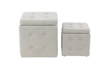 Set Of 2 Upholstered Storage Stools - Main