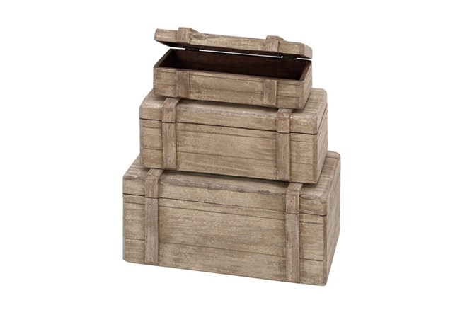 Set Of 3 Wood Trunk Boxes - 360