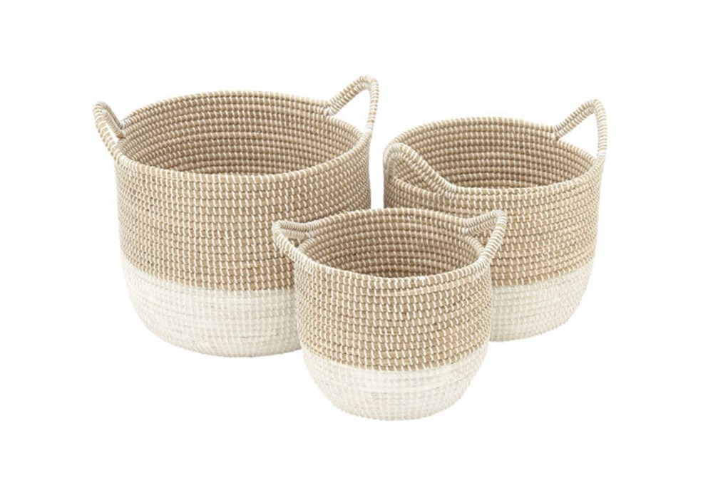 Set Of 3 Natural And White Seagrass Basket