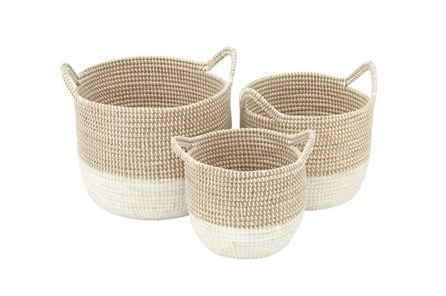 Set Of 3 Natural And White Seagrass Basket - Main