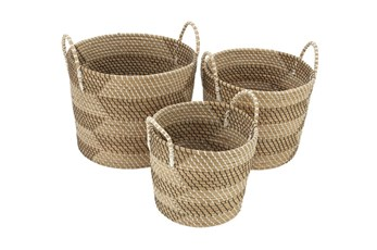 Set Of 3 Natural Seagrass Basket