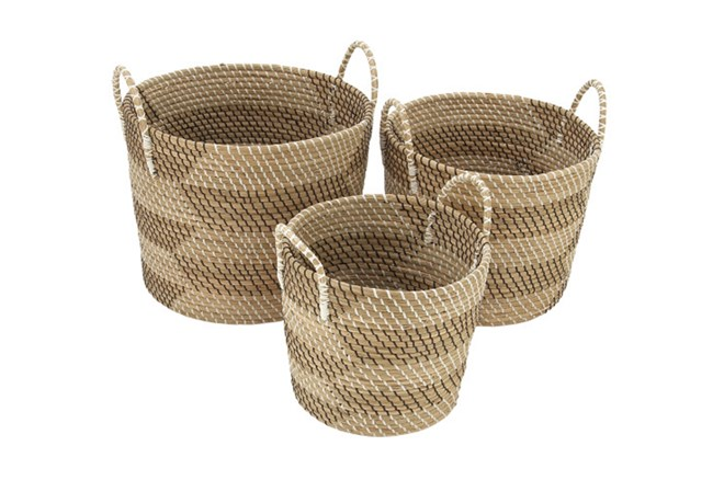 Set Of 3 Natural Seagrass Basket - 360