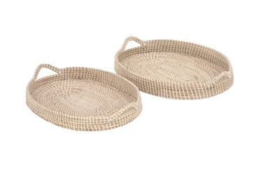 Set Of 2 Round Seagrass Tray