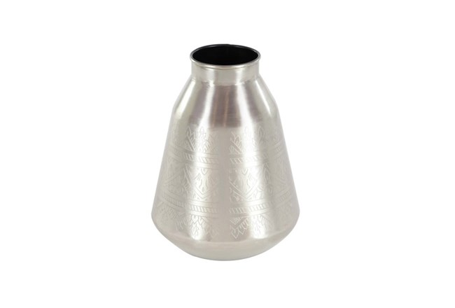 11 Inch Silver Metal Vase - 360