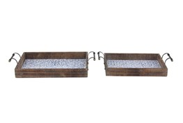 Set Of 2 Blue Tile And Wood Trays