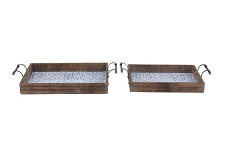 Set Of 2 Blue Tile And Wood Trays - Main