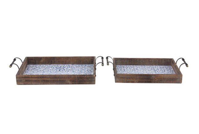 Set Of 2 Blue Tile And Wood Trays - 360