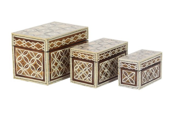 Set Of 3 Batik Boxes - 360