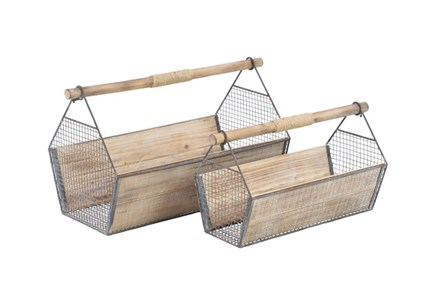 Set Of 2 Wooden Garden Caddy