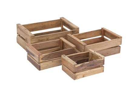 Set Of 4 Wood Grate Crates