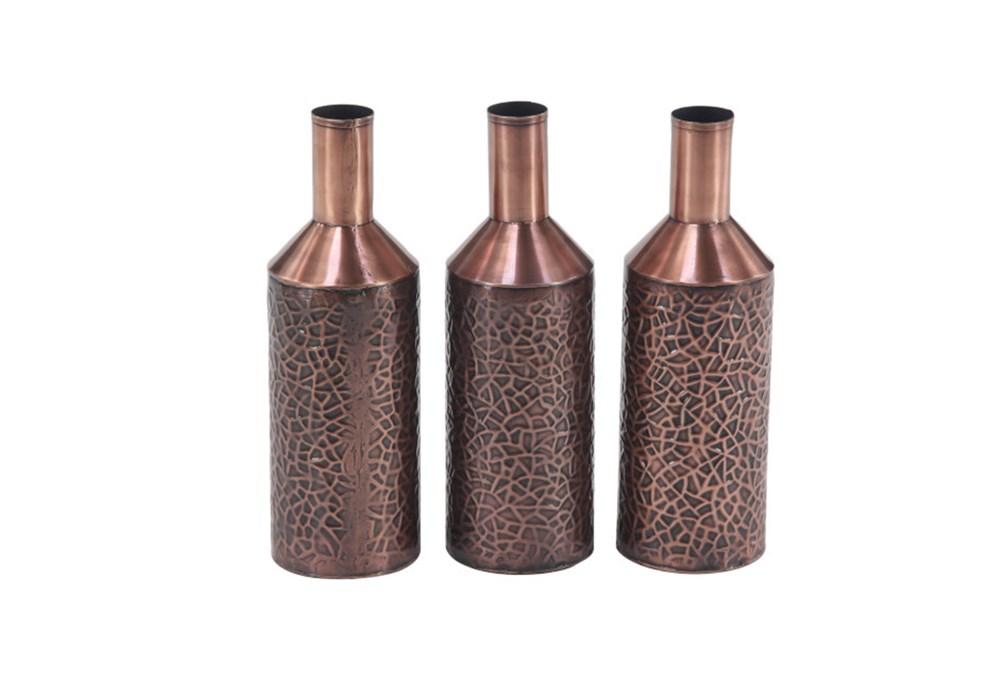 Set Of 3 Embossed Copper Vases
