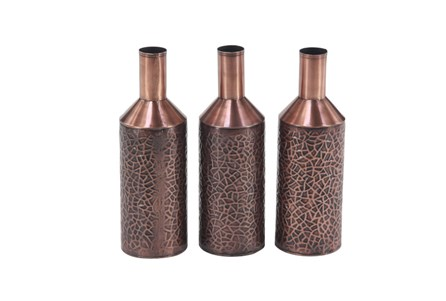 Set Of 3 Embossed Copper Vases