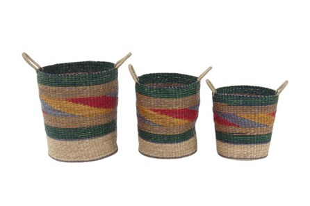 Set Of 3 Multi Colored Woven Baskets - Main