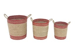 Set Of 3 Red And Natural Woven Baskets