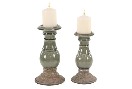 Set Of 2 Reactive Glaze Candleholders