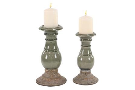Set Of 2 Reactive Glaze Candleholders