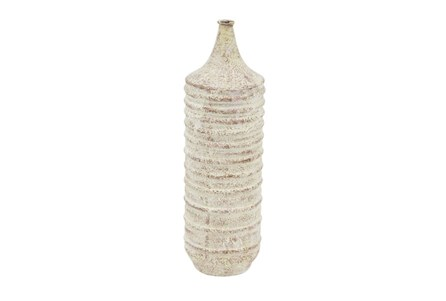 17 Inch Ribbed White Wash Vase