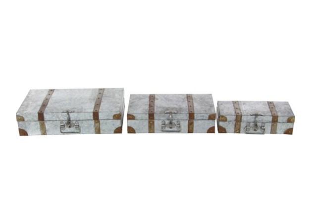 Set Of 3 Galvanized Suitcase - 360