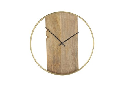 Brass And Wood Wall Clock