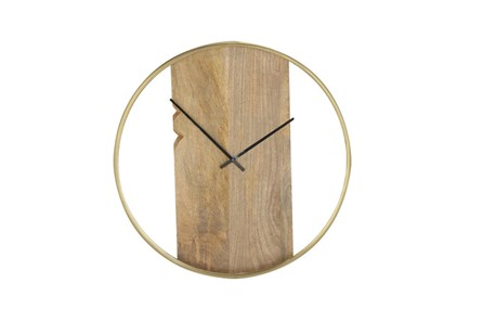 Brass And Wood Wall Clock - Main