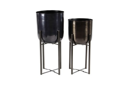 Set Of 2 Short Black Metal Floor Planters - Main