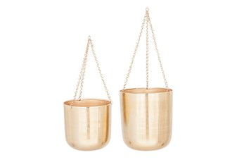 Set Of 2 Shiny Gold Hanging Planters